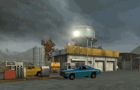 Thunder Mountain gas station scene